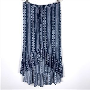 Band of Gypsies High Low Button Maxi Skirt Large